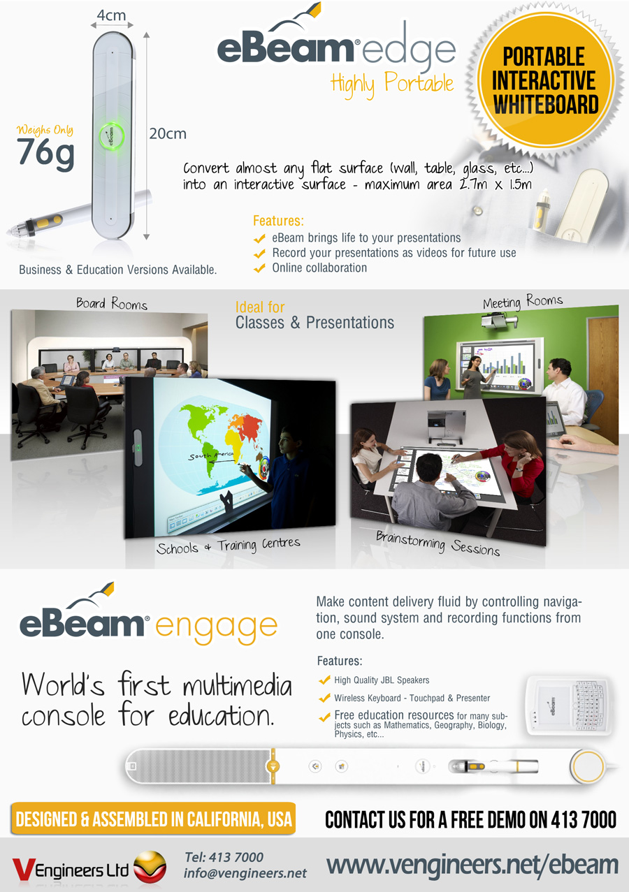 eBeam turns almost any flat surface into an interactive surface.